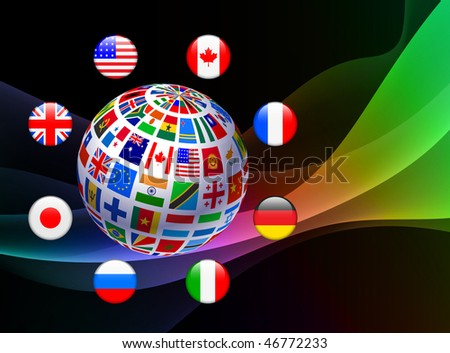 Flag Icon Globe on Abstract Background Original Vector Illustration