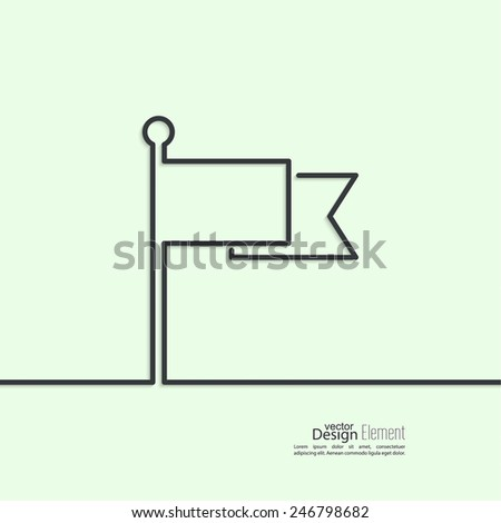 Flag icon. Location marker symbol. minimal. Outline. - stock vector