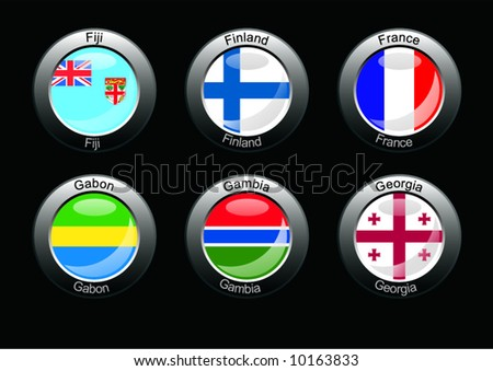 Flag icon set (part 11- Fiji, Finland, France, Gabon, Gambia, Georgia)