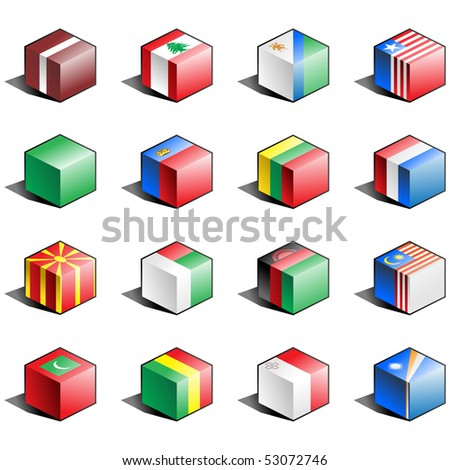 Flag icon set (part 7) Latvia, Lebanon, Lesotho, Liberia, Libya, Liechtenstein, Lithuania, Luxemburg, Macedonia, Madagascar, Malawi, Malaysia, Maldives, Mali, Malta, Marshall Islands - stock vector