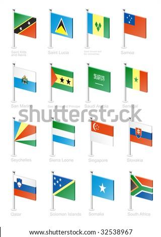 Flag icon set (part 10)  Saint Lucia, Samoa, San Marino,  Saudi Arabia, Senegal, Seychelles, Sierra Leone,  Singapore, Slovakia, Qatar, Solomon islands, Somalia, South Africa - stock vector