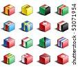 Flag icon set (part 11) Spain, Sri Lanka, Sudan, Surinam, Swaziland, Sweden, Switzerland, Syria, Taiwan, Tajikistan, Tanzania, Thailand, Togo, Tonga, Trinidad and Tobago, Tunisia - stock