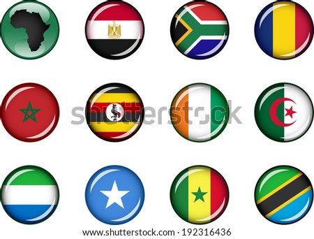 Flag Icons of Africa 1. Vector graphic images of glossy flag icons representing countries within Africa.  - stock vector