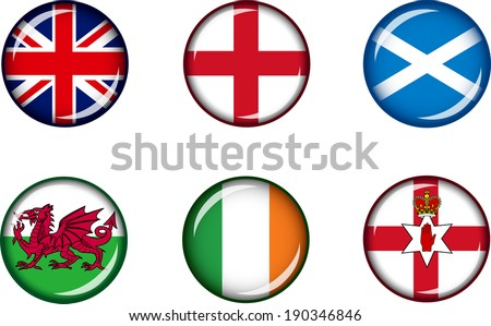 Flag Icons of the British Isles. Vector graphic images of glossy flag icons representing countries and regions within the British Isles.  - stock vector