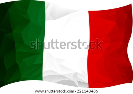 flag Italy made with abstract triangles - stock vector