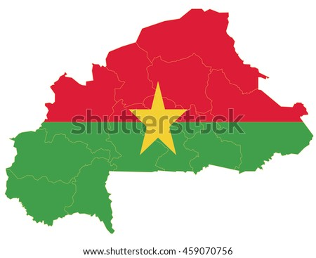 Flag map-burkinaFaso  country on white background.