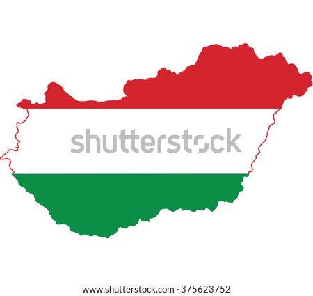 Flag map of Hungary