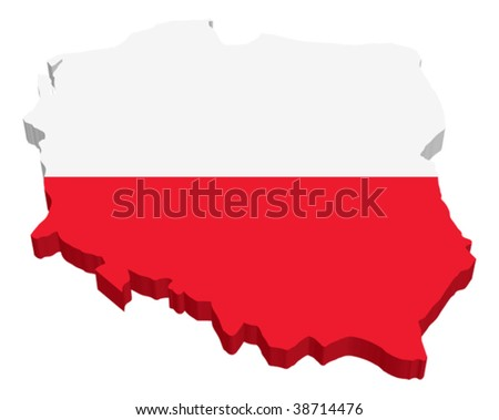 Flag Map of Poland - stock vector