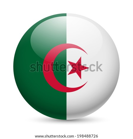 Flag of Algeria as round glossy icon. Button with Algerian flag - stock vector