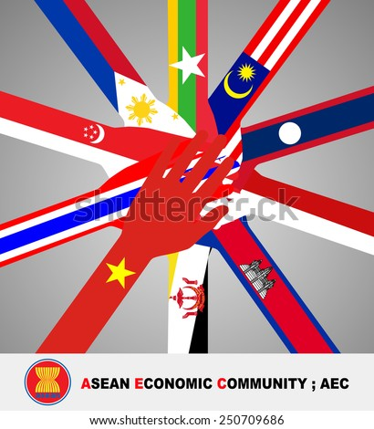 Flag of all southeast asia nation lay on open hand and join in the middle of picture on gray gradient background.(EPS10 vector separate part by part) - stock vector