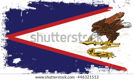 Flag of American Samoa in the ancient. - stock vector