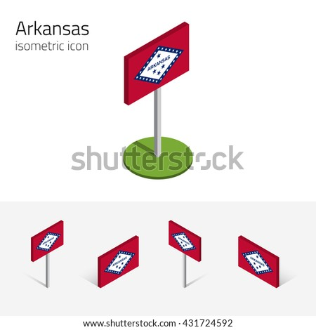 Flag of Arkansas (State of Arkansas, USA), vector set of isometric flat icons, 3D style, different views. Editable design element for banner, website, presentation, infographic, poster, map. Eps 10 - stock vector