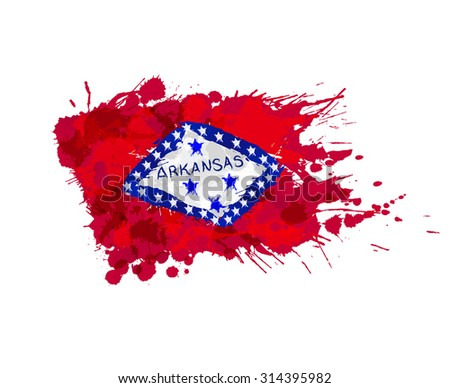 Flag of Arkansas, USA made of colorful splashes - stock vector