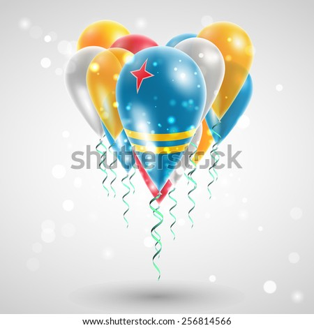 Flag of Aruba on air balls in heart-shaped. Celebration and gifts. Ribbon in the colors of the flag are twisted under the balloon. Independence Day. Balloons on the feast of the national day - stock vector