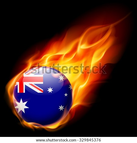 Flag of Australia as round glossy icon burning in flame - stock vector