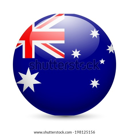 Flag of Australia as round glossy icon. Button with Australian flag - stock vector