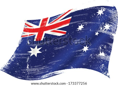 flag of Australia in the wind with a texture - stock vector
