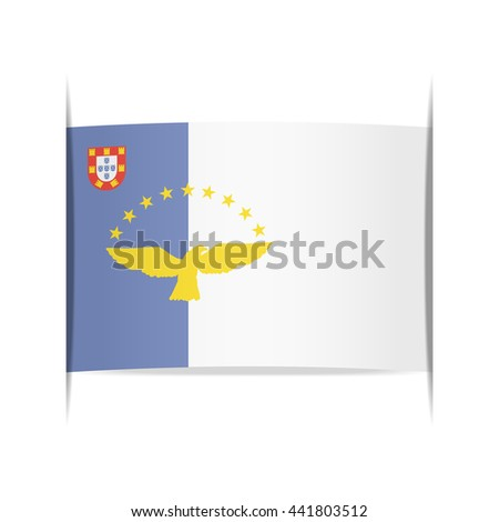 Flag of Azores, officially the Autonomous Region of the Azores. Vector illustration of a stylized flag. The slit in the paper with shadows. Element for infographics.