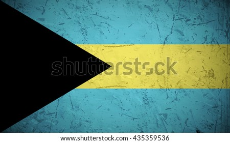 Flag of Bahamas with old texture. - stock vector