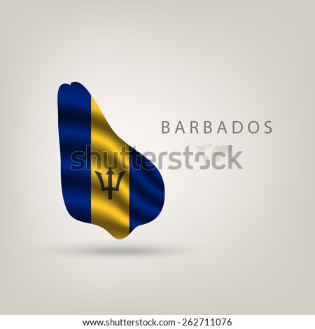 Flag of BARBADOS as  country with a shadow - stock vector