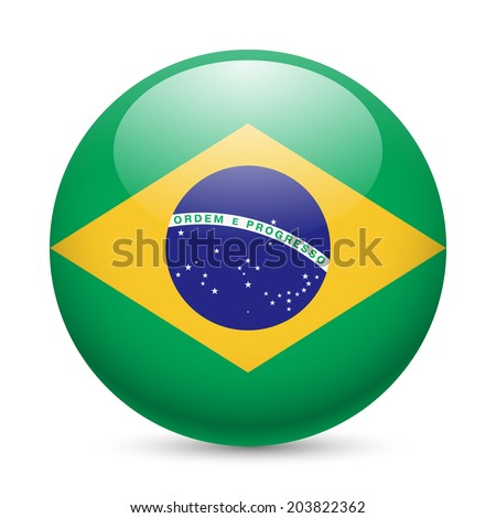Flag of Brazil as round glossy icon. Button with Brazilian flag - stock vector