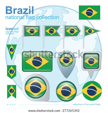 Flag of Brazil,, icon collection, vector illustration - stock vector