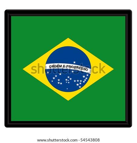 Flag of Brazil with black frame - stock vector