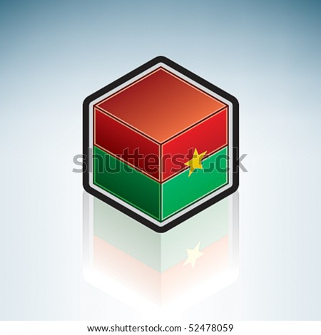 Flag of Burkina Faso (Africa) made as a cubic 3D Isometric Style Icon