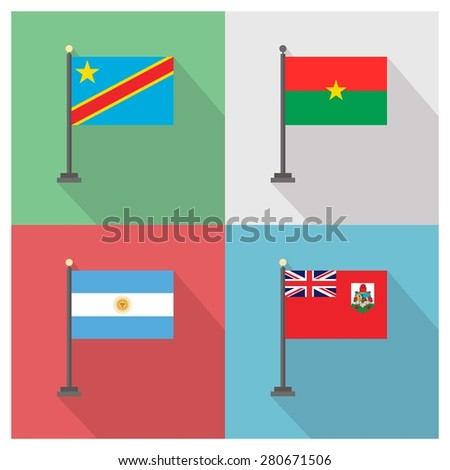 Flag of Burkina Faso - Flag of Bermuda - Flag of Democratic Republic of the Congo - Flag of Argentina - The flat design of the 4 country flag on the flagpole . Modern World Flag design vector