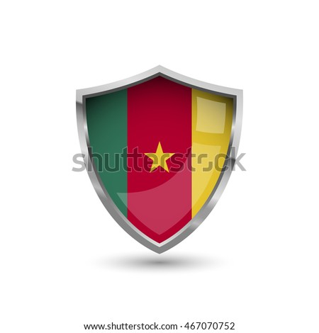 Flag of Cameroon. Flag on the metal shield with glare.