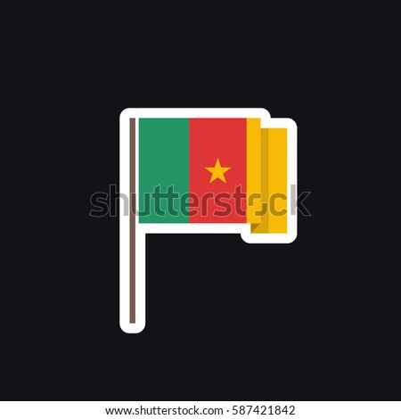Flag of cameroon icon sticker vector illustration