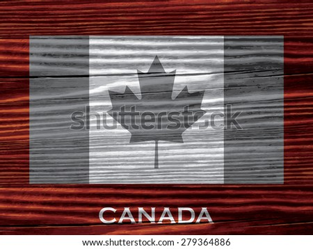 Flag of Canada on wooden background - stock vector