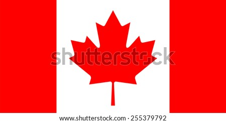 Flag of Canada. Red field with a white square at centre, in the middle of which is featured red maple leaf. Correct size, proportions and colors. Vector image of Canadian national symbol. - stock vector
