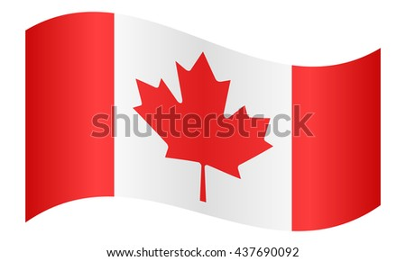Flag of Canada waving on white background - stock vector