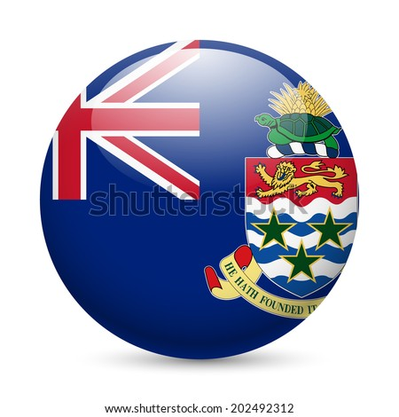Flag of Cayman Islands as round glossy icon. Button with flag design - stock vector