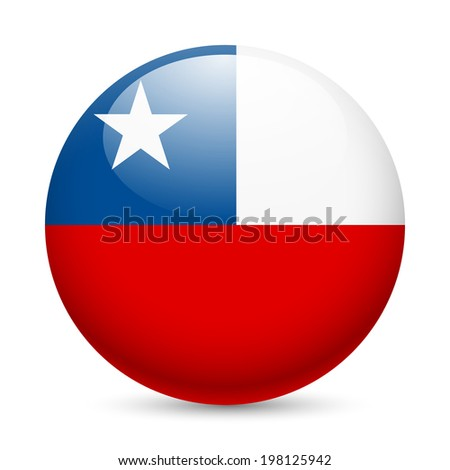 Flag of Chile as round glossy icon. Button with Chilean flag - stock vector