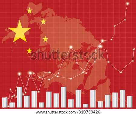 Flag of China. Downtrend stock data diagram - stock vector