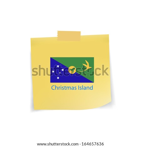 flag of Christmas Island icon on note pad paper,vector