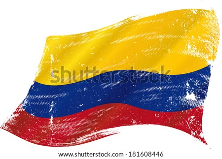 flag of  Colombia in the wind with a texture - stock vector