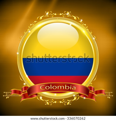 Flag of Columbia in GOLD, vector illustration - stock vector