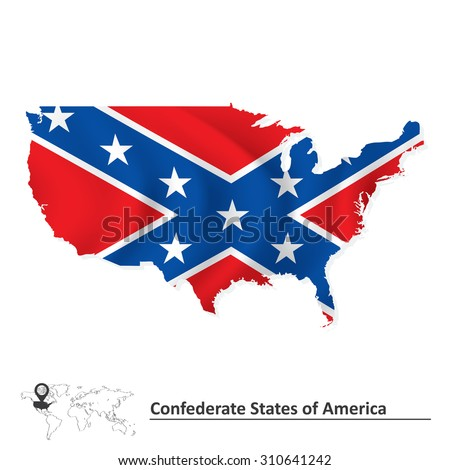 Flag of Confederate states of America with USA map - vector illustration - stock vector