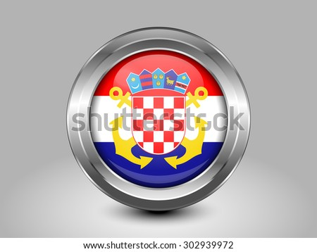 Flag of Croatia Naval Ensign. Metal Round Icons. This is File from the Collection European Flags - stock vector