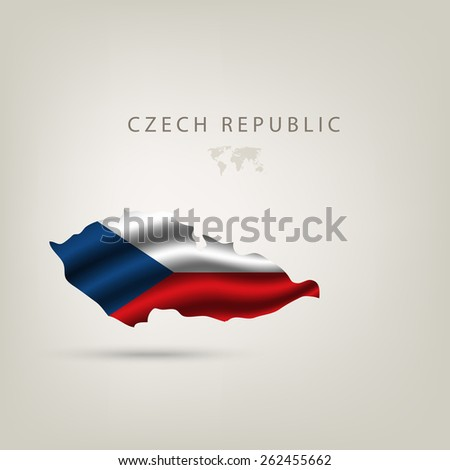 Flag of CZECH REPUBLIC as a country with shadow - stock vector