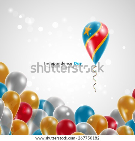 Flag of Democratic Republic of Congo on balloon. Celebration and gifts. Ribbon in the colors of the flag are twisted under the balloon. Independence Day. Balloons on the feast of the national day. - stock vector