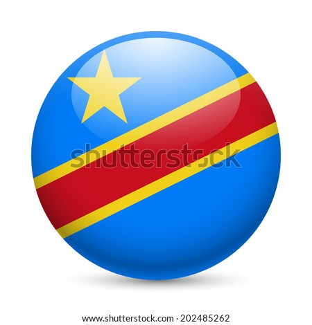 Flag of Democratic Republic of the Congo as round glossy icon. Button with flag design - stock vector
