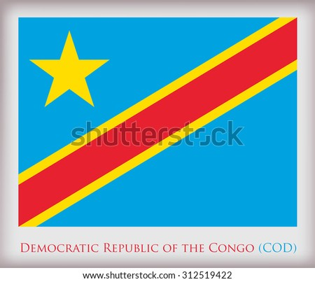 Flag of Democratic Republic of the Congo.Congo flag vector illustration. - stock vector
