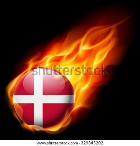 Flag of Denmark as round glossy icon burning in flame - stock vector