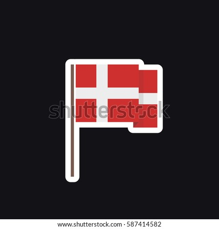 Flag of denmark icon sticker vector illustration