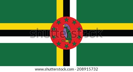 Flag of Dominica. Vector. Accurate dimensions, element proportions and colors. - stock vector