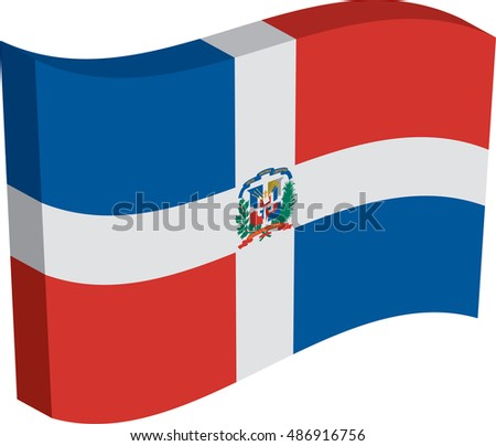 Flag of Dominican Republic. Vector illustration of a stylized flag. The slit in the paper with shadows. Element for infographics.